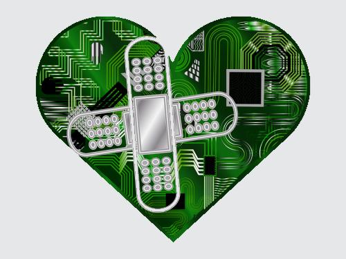 Pflaster auf Computer Herz
